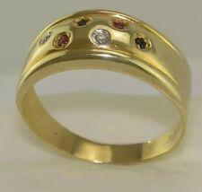 Ring m Brillanten & div. Edelsteine / 333er - 8 Karat Gold / Gr 55 (17,5 mm Ø)