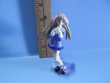 """#547 Unknown Anime 3.5""""in Girl Light Blue Outfit Brown Twin Tail Hair"""