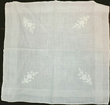 "Vintage White on White Embroidery Hanky Linen 11"" X 11"" Flowers Older"