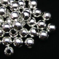 Silver Plated Smooth Spacer Beads Jewellery Findings Round Metal Ball 2-10mm