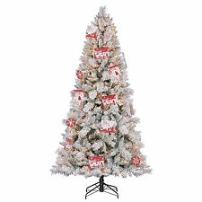 Hallmark 7.5' Artificial Northern Estate White Flocked Christmas Tree w/ Lights