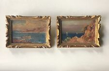 Pair Oil Paintings Antique Seascape Landscape Miniature Wall Art