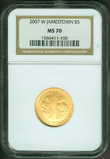 2007 W JAMESTOWN Gold $5 Coin NGC MS 70 ULTRA CAMEO
