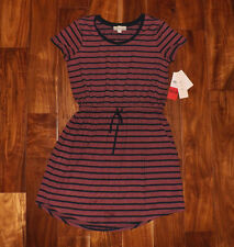 NWT Womens OLIVE & OAK Short Sleeve Style Summer Sun Dress Coral Navy Stripe M