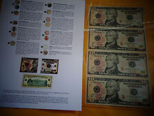 UNCUT SHEET  $10 X4 Legal USA $TEN  DOLLAR BILLS-Real Currency /RARE GIFT  Money