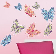 BUTTERFLIES wall stickers 9 big decals bug insect decor scroll fluttering wings