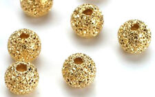 25 Lovely Gold Plated Stardust Round Beads 6MM