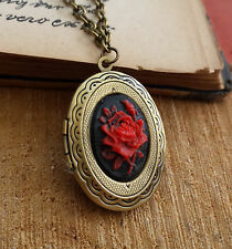 Medallón foto Gothic cadena Victorian Rose cabochon cameo Flower photo Locket