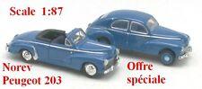 Set de 2 Peugeot 203 berline et cabriolet bleue  - Norev - Echelle 1/87 - Ho