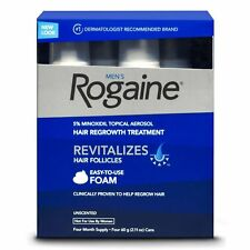 ROGAINE HAIR REGROWTH FOR MEN 5% MINOXIDIL TOPICAL FOAM 4-MONTH SUPPLY NEW