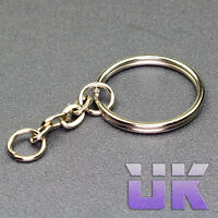 25mm Split Ring & Chain Connector - Keyring key Chain - Nickel Plated