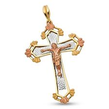 Jesus Cross Budded Pendant 14k Yellow Rose White Gold Crucifix Charm Tri Color