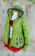 Girls size 5/6 years Marks & Spencer green padded mittons & coat