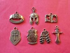 Tibetan Silver Mixed Knights of the Round Table/Knights Armour Charms 7 per pack