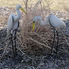 Handcrafted Egret Pair 3D Metal Heren Yard Art Crane Sculpture
