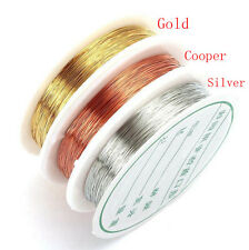Copper Wire, Tiara Jewellery Making, Beading, Wrapping 0.3/0.4mm Gold Silver DIY