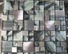 MOSAIC TILES SHEETS RANDOM MIX GLASS & BRUSHED METAL MODULAR NEW £7.79 / SHEET
