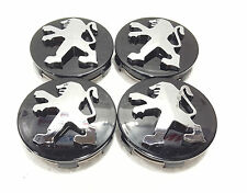 Peugeot Black Wheel Alloy Center Caps Set of 4 60 mm for 306,307,206,107,406 New