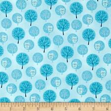 Fabric Owls in Trees on Baby Blue Cotton 1 Yard