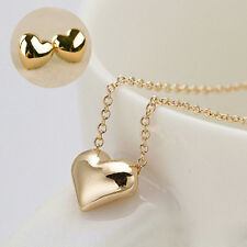 Tiny Elegant Gold Love Heart Short Necklace Earring Women Girl Jewelry Sets
