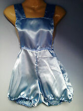 blue satin pants romper pantaloons french maid cosplay sissy adult baby  32-42