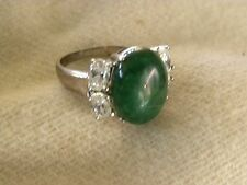 JADEITE, CZ, & STERLING SILVER RING SIZE 9 SIGNED