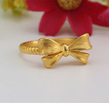 Authentic 999 24K Yellow Gold Ring 3D Bow Design Ring Band 1pcs Size: 7