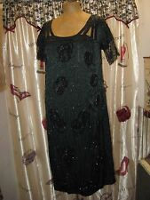 Vintage 1920's Black Silk & Lace Beaded Flapper Party Dress Size Medium