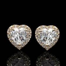 1CT Brilliant Lab Diamond Earrings Halo Blue Heart Solid 14K Yellow Gold Studs