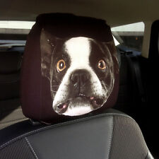 CAR SEAT HEAD REST COVERS 2 PACK FRENCH BULLDOG DESIGN MADE IN YORKSHIRE