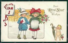Children Happy New Year Greetings Clapsaddle ? Relief postcard cartolina QT5900