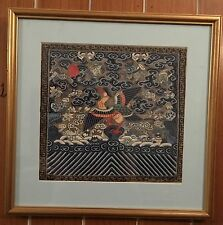 Antique Chinese Silk Kesi Kose Rank Badge Woven Embroidery Flycatcher Birds