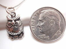 Small Owl Perched on Branch Necklace 925 Sterling Silver Corona Sun Jewelry