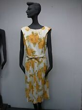 VINTAGE 1940s 50s PRETTY YELLOW & WHITE FLORAL SLEEVELESS DRESS ~ BUST 38""