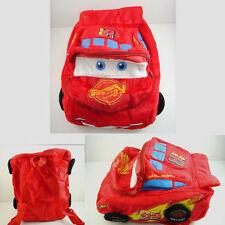 """Pixar Cars Lightning McQueen 14"""" Soft Plush Kids Children 3D Backpack Bag +CHARM"""