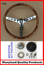 "New! 1970-1977 Mustang Grant Walnut Wood Steering Wheel 15"" Chrome spokes"