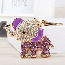 Purple Elephant Lovely Crystal Pendant Charm Purse Bag Key Chain Accesories Gift