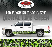 "Digital Lime Green Camo Rocker Panel Graphic Decal Wrap Truck SUV - 12"" x 24FT"