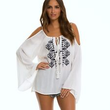 ELAN Boho White Navy Aztec Embroidered Cold Shoulder Bell Sleeve Tunic Top O/S