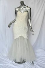 BADGLEY MISCHKA Cream Beaded Pearl+Tulle LACE Long Fishtail Formal Gown Dress 10