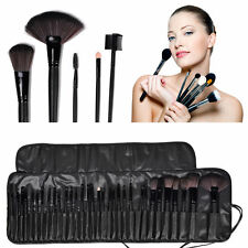 Wood Black Pro 32pc Superior Soft Cosmetic Makeup Brush Set Kit + Pouch Bag Case