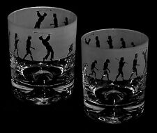 *GOLFING GIFT* Boxed WHISKY TUMBLER GLASS with EVOLUTION GOLFER frieze