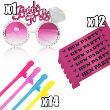 Hen Party Bride To Be Glasses Sashes Straws Set Party Night Hen Do Accessories