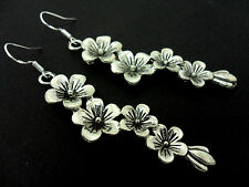A PAIR LONG FLOWER  EARRINGS WITH 925 SILVER HOOKS.