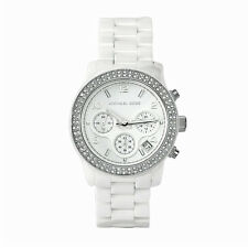 Michael Kors Ladies White Ceramic Bracelet Chronograph Designer Watch MK5188