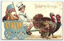 Postcard Thanksgiving Fantasy Patriotic Dressed Boy in Cart Pulled by Turkeys