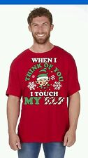 MEN'S WOMAN'S NOVELTY CHRISTMAS T SHIRT IN RED SIZE LARGE  RUDE FUNNIES