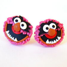 Girls Pink Red Animal Sesame Street The Muppet Show Emo Funny Gifts Earrings