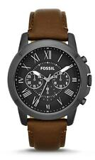 FOSSIL Grant Chronograph Black Dial Brown Leather Men's Watch - FS4885