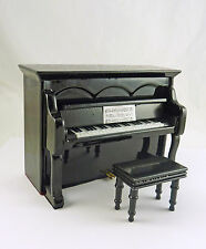 Dollhouse Miniature Black Upright Piano w/Bench, Music, MM707